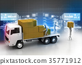 Transportation trucks in freight delivery 35771912