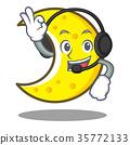 With headphone crescent moon character cartoon 35772133