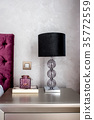 Close up details of lamp on modern nightstand  35772559