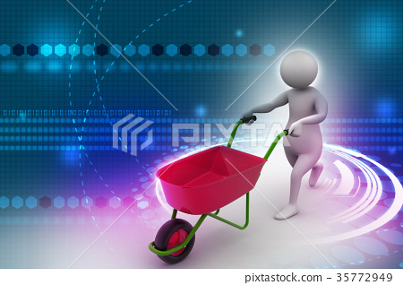 3d man with wheel barrow 35772949