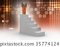 Success concept, 3d man standing on top 35774124