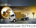 Transportation trucks in freight delivery 35774129