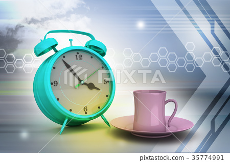 Alarm clock with cup of tea 35774991