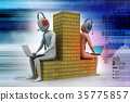 3d people working in laptop 35775857