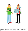 Young couple traveling with hiking backpacks on 35776027