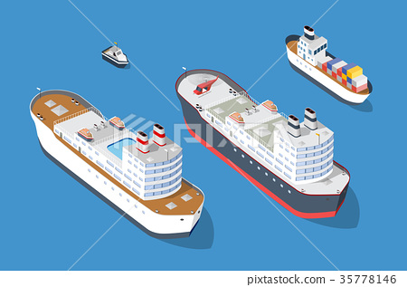 Cruise boat and naval ships 35778146