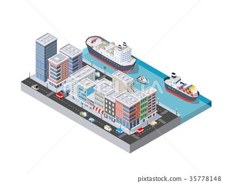 Cruise boat and naval ships 35778148