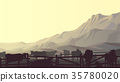 Illustration of farm pets in background mountains. 35780020