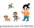 Momotaro monkey and pheasant dog illustration 35784362