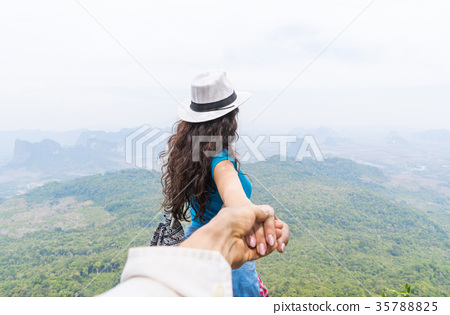 Man Hold Woman Hand, Tourist Couple With Backpack 35788825