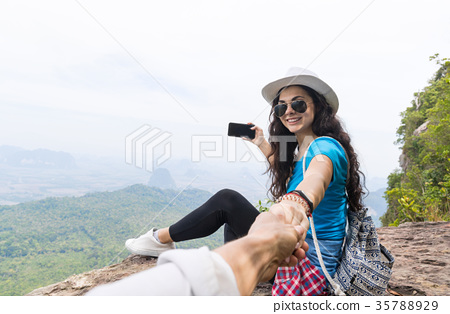 Woman With Backpack Take Photo Of Landscape From 35788929