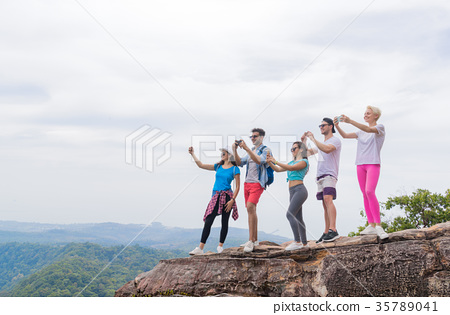 Tourist Group With Backpack Take Photo Of 35789041