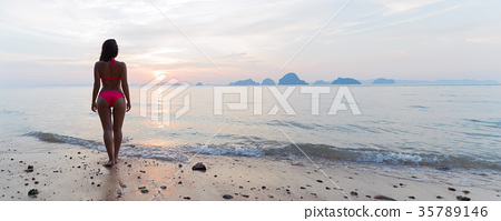 Woman On Beach At Sunset Back Rear View, Young 35789146