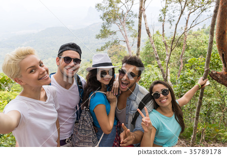 People Group Take Selfie Photo Over Beautiful 35789178