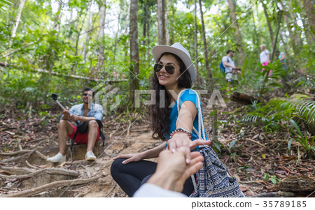 Woman Hold Man Hand, Couple With Backpacks 35789185