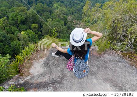 Girl With Backpack Enjoy Beautiful Landscape Back 35789193