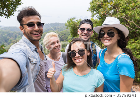 People Group Take Selfie Photo Over Beautiful 35789241