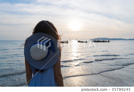 Woman Beach Summer Vacation, Young Girl Sea Sunset 35789245