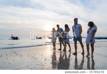 Young People Group On Beach At Sunset Summer 35789250