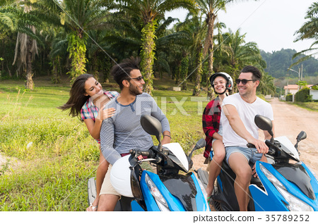 Two Couple Riding Motorbike, Young Man And Woman 35789252