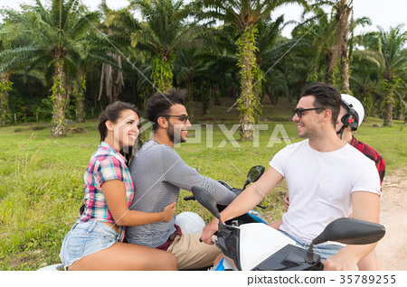 Two Couple Riding Motorbike, Young Man And Woman 35789255