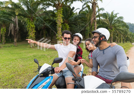 Two Couple Riding Motorbike, Young Man And Woman 35789270