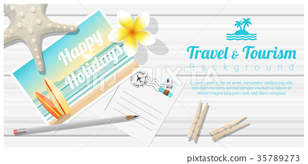 Travel and tourism background with sea postcards 35789273
