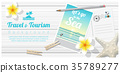 Travel and tourism background with sea postcards 35789277