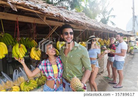 Couple Buying Bananas On Street Traditional Market 35789617