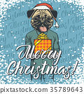 Vector illustration of dog on Christmas with gift 35789643