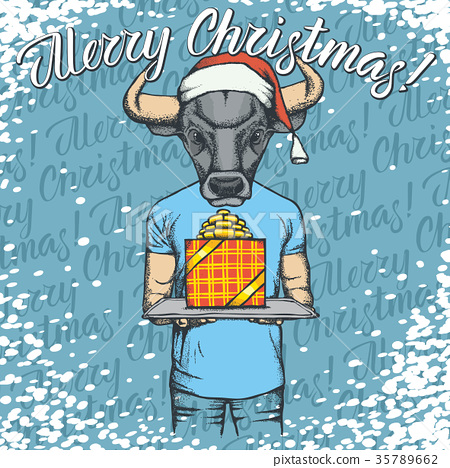 Vector illustration of bull on Christmas with gift 35789662