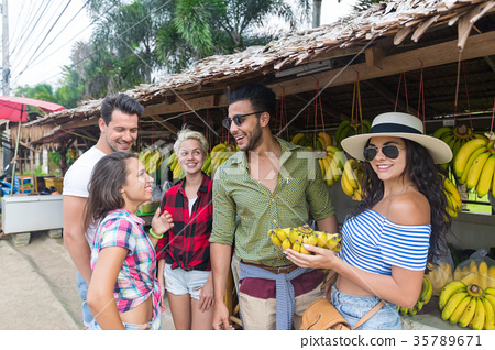 People Group Buying Bananas On Street Traditional 35789671