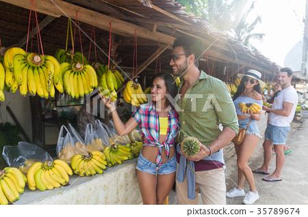 Couple Buying Bananas On Street Traditional Market 35789674