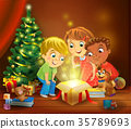 Christmas miracle - kids opening a magic gift 35789693