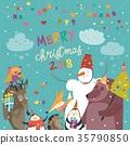Happy animals celebrating Christmas 35790850