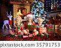 Child at Christmas tree. Kids at fireplace on Xmas 35791753