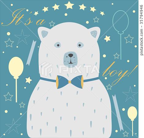 Baby Boy Birth announcement. Baby shower card 35794946