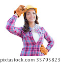 Female Construction Worker Wears Gloves, Hard Hat  35795823