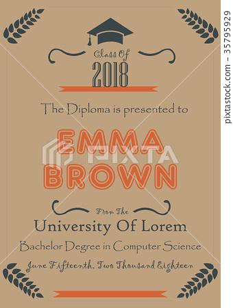 Graduation Announcement. Vector Illustration 35795929