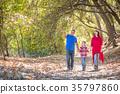 Mixed Race Caucasian and Hispanic Family Taking a Walk At The Pa 35797860