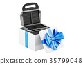 Waffle iron oven inside gift box, gift concept 35799048