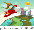 Stickman Kid Boy Globe Plane 35800649