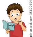 Kid Boy Confuse Memorize Script Illustration 35800654