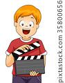 Kid Boy Clapper Illustration 35800656