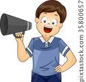 Kid Boy Student Director Megaphone Illustration 35800657