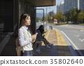 고등학생,버스정류장 35802640