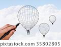 Aerostat in sky 35802805