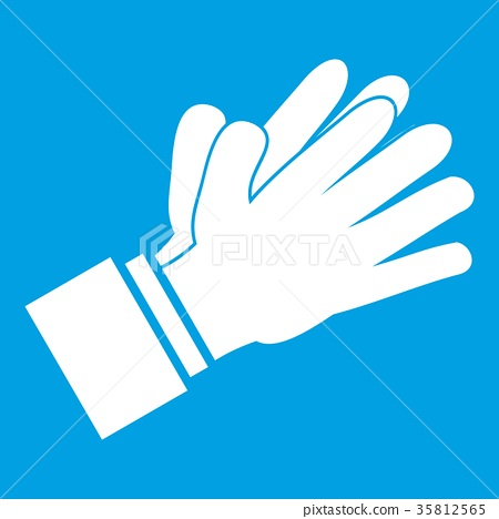 Clapping applauding hands icon white 35812565