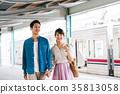 젊은 남녀 전철 촬영 협조 · 게이오 전철 주식 회 35813058