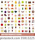 100, icons, restaurant 35813225